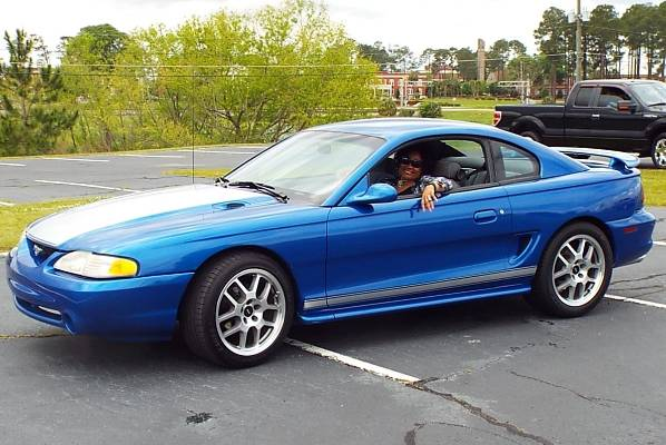 One of the Speed family's Ford Mustangs.