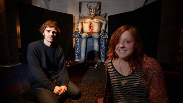Sculptor Leda Farrow, left, and festival director Andrew Laking with Somnium.