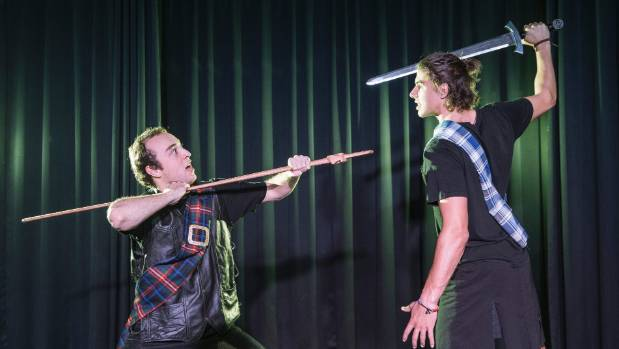 Abel Johnston plays Macbeth (left), and Archie Smith plays Siward in the upcoming production of Macbeth by Nelson College.