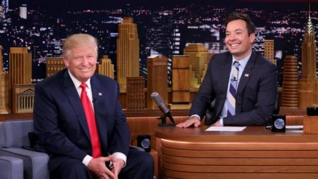 Republican presidential candidate Donald Trump appears with host Jimmy Fallon.
