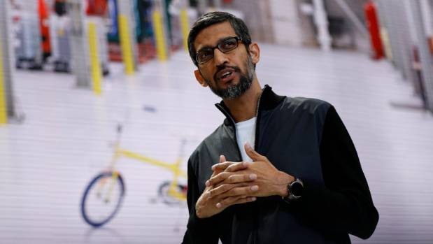 Google CEO Sundar Pichai speaks on stage during the annual Google I/O developers conference.