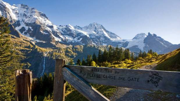 Hiking in the Bernese Oberland???s Lauterbrunnen valley.
