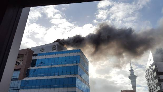 The fire as viewed from the Spark building.