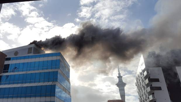 Firefighters were unable to get water up to a fire on top of a central Auckland high rise, due to faults in its fire ...