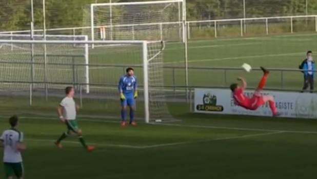 Swiss footballer Adrien Gulfo's flying scissor kick could be the best own goal ever.
