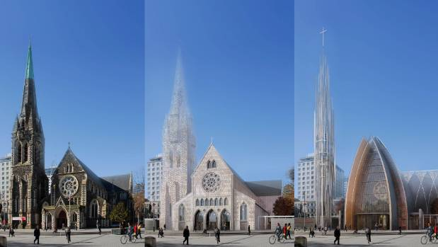 Three choices, but is there a fourth? The options of a restored Cathedral, a wooden replica, and a modern design.