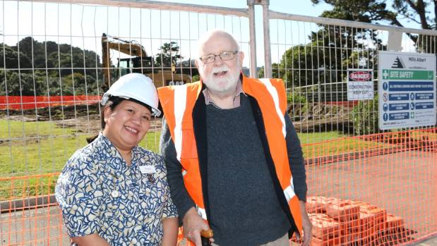 Clinical nurse manager Anna Roberts and resident PeterJohnson watch the redevelopment of Enliven's Kilmarnock Heights ...