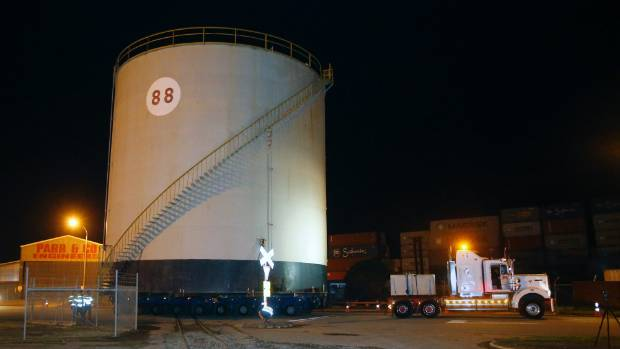 The tank was 15.5m high by 15.5m wide when placed on the truck.
