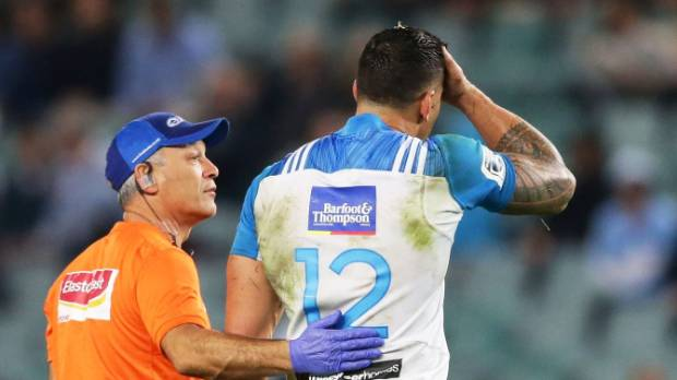 Sonny Bill Williams of the Blues left the field after a head knock during the round 11 Super Rugby match between the ...