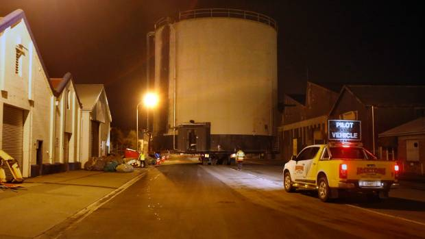 The tank was moved through the combined efforts of workers at the Port of Timaru and workers from Jackson's Cranes and ...
