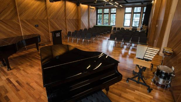 A recital roo has acoustically-designed wall paneling funded by Creative New Zealand.