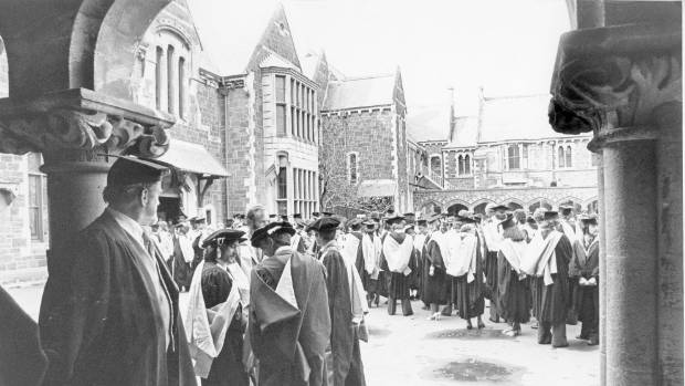 Graduands of 1977 gather at the old university site before their march to the Christchurch Town Hall.