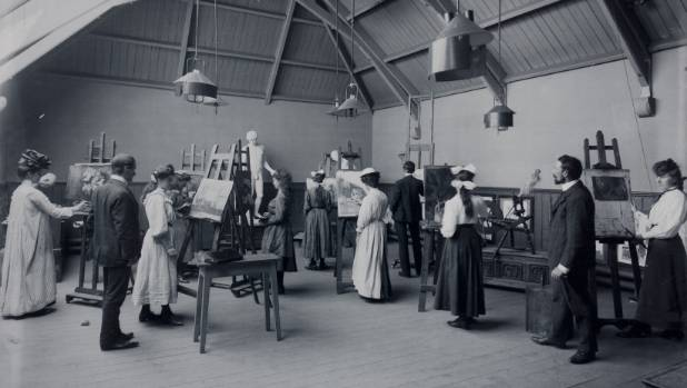 Students paint in one of the old University of Canterbury buildings. The university was sited at the Arts Centre for ...