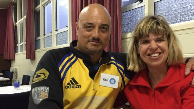 New Plymouth couple Etu Tokotaua and Sarndra Paton contribute food and help set up for the weekly meal, before they join ...