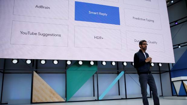 Google CEO Sundar Pichai speaks on stage during the developers conference in San Jose, California.