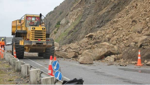 This slip at Kahutara Bridge, photographed on March 9, is one of several causing issues on State Highway 1 south of Kaikoura.