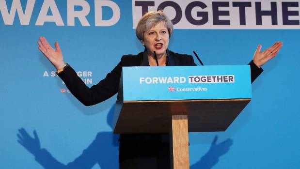 Britain's Prime Minister Theresa May's launches her Conservative Party election manifesto in Yorkshire.