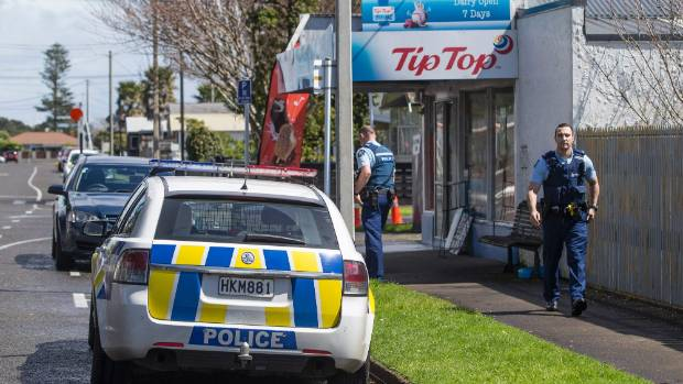 Police investigate the aggravated robbery of New Plymouth's Barriball St Dairy.