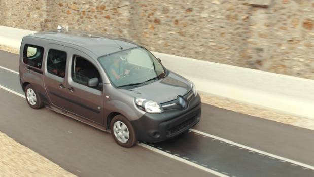 A Renault Kangoo EV runs a wireless charging test in France.