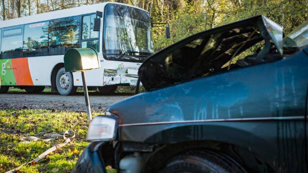 A Mazda Demio crashed into a Go Bus on Raineys Rd, Lincoln, on Friday morning.