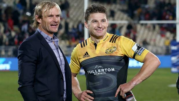 Crusaders coach Scott Robertson, left, oversaw the perfect defensive strategy to contain Beauden Barrett.