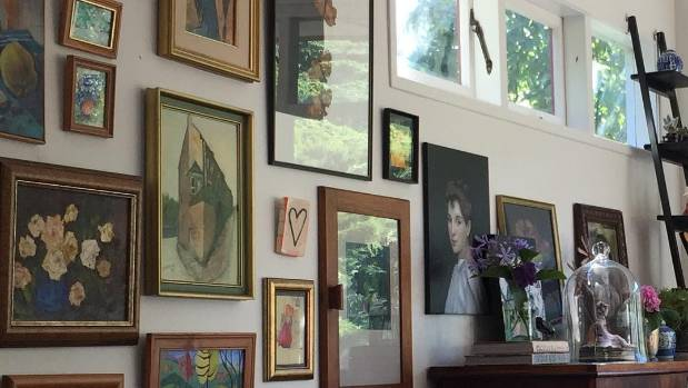 A creatively appointed wall in Lokmer's Crofton Downs home.