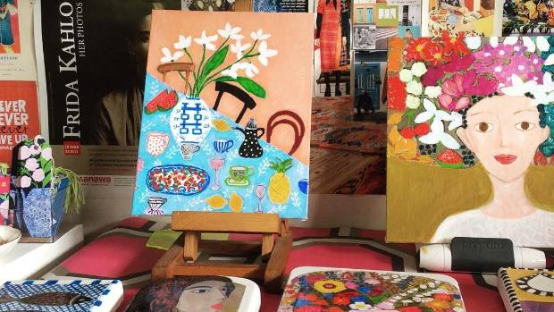 Cheerful and colourful works in Lokmer's studio.