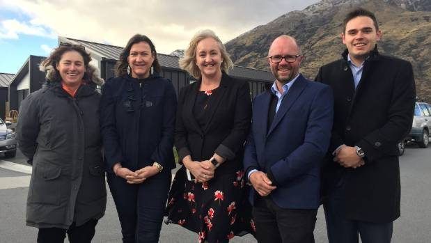 Social Housing Minister Amy Adams, centre, with Clutha-Southland MP Todd Barclay, far right, and Queenstown Community ...