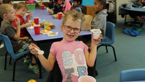 Amie McMurray, 5, is a fan of yoghurt.