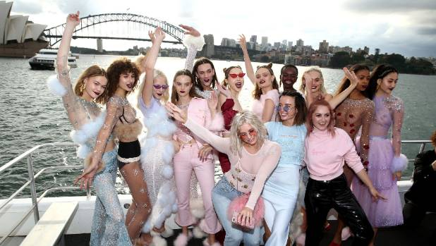 SYDNEY, AUSTRALIA - MAY 18:  Designers Jameen Zalfen and Rachel Motteram pose with models following the Dyspnea show at ...