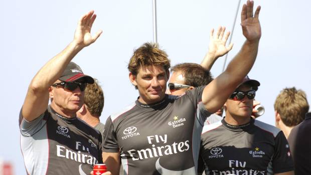 Jono McBeth, centre, waves goodbye to Team New Zealand after the 2007 America's Cup final. He went on to win two Cups ...
