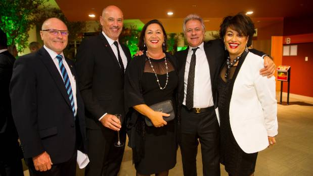 From left, Brian King, Craig Tamblyn, Patsy King, John McFadden and Lynette McFadden enjoy a very successful night for ...