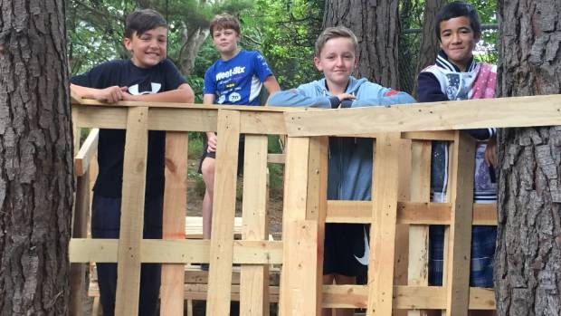 Pukerua Bay School pupils Ben, Billy, Alex and Paikea enjoyed building with recycled pallets. [File Photo]