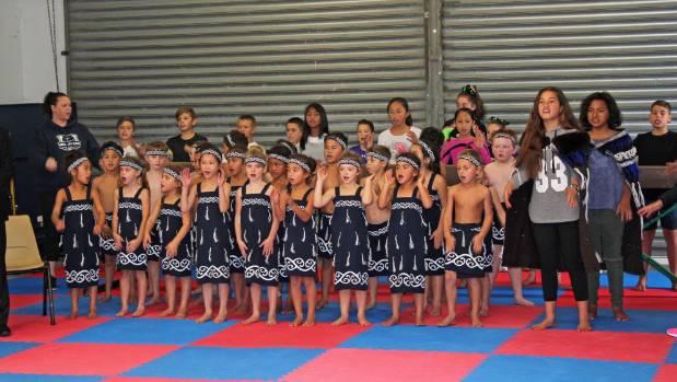 Wellsford School's junior kapa haka group performs a waiata.