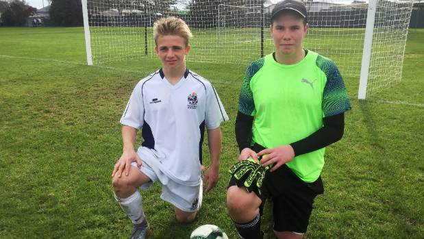 Timaru Boys' footballers Cam Anderson, left, and Mitchell Skudder-Dey have been selected in the Football South under-18 ...