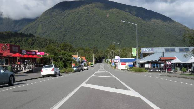 The main street of Fox Glacier (State Highway 6) on the West Coast.