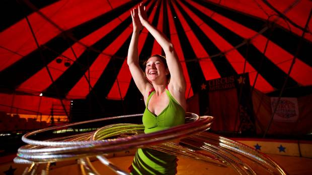 Performer Jamee Campbell is a master of hula hooping in the show Aotearoa Circus.