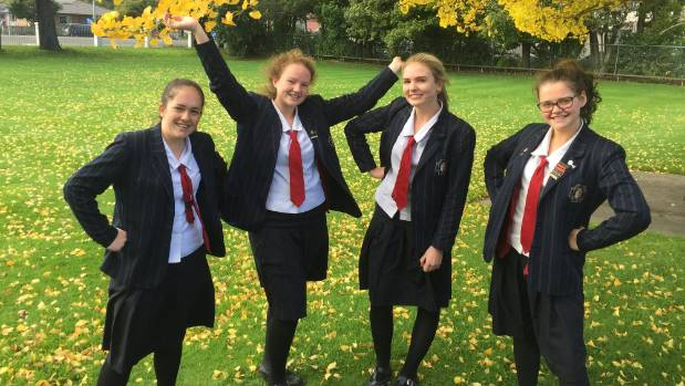 Palmerston North Girls' High pupils Alice Boyd, 16, Miriam Carr, 17, Holly Davis, 16, and Sophie Brokenshire, 16, are ...