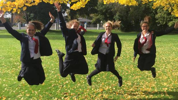 Alice Boyd, 16, Miriam Carr, 17, Holly Davis, 16, and Sophie Brokenshire, 16, are jumping for joy about positive body ...