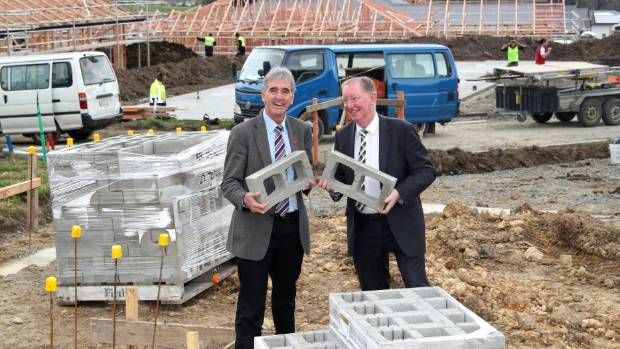 Tasman mayor Richard Kempthorne, left and Nelson MP Nick Smith at a Richmond housing development last year.