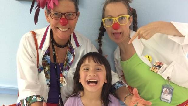 Clown doctors Pick Me Up and Gaggle Giggle at Starship Hospital.