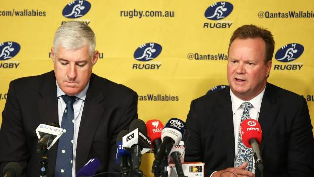 Chairman Cameron Clyne, left, and Bill Pulver are at the forefront of a struggling Australian Rugby Union.