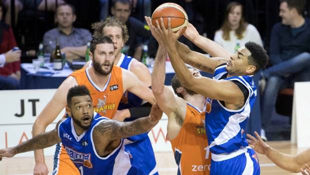 The Wellington Saints' Corey Webster goes for a shot against the Southland Sharks on Friday night.