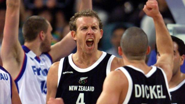 Sean Marks and Mark Dickel celebrate as New Zealand play Greece.