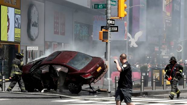 A vehicle struck pedestrians and later crashed in Times Square in New York City, US.