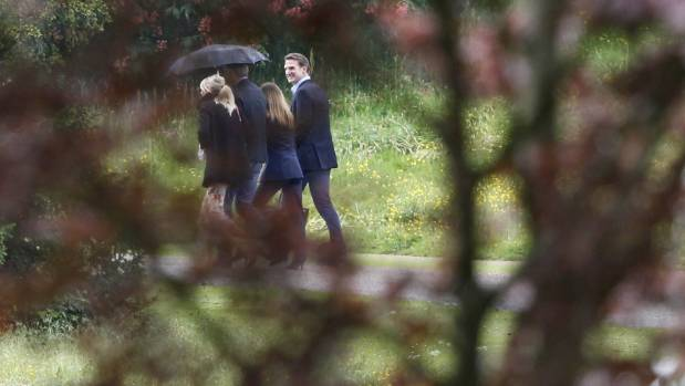 Family and friends leave a wedding rehearsal at St Mark's Church ahead of the wedding of Pippa Middleton and James Matthews.