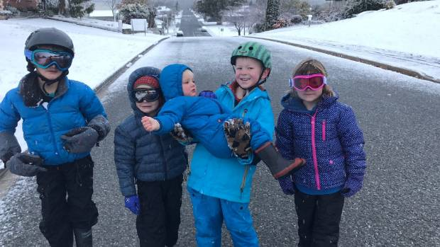 "The ""Donegal Street kids"" get their snow on in Cromwell: Hunter Knox, 7, Asher Knox, 5, Jordan Knox, 1, Travis ..."