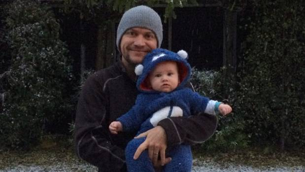 Super-cute Hunter gets to pose with dad, too.