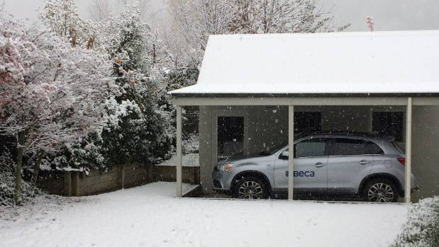 Even the car is grateful to have some shelter in Arrowtown.