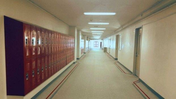 Inside Twin Peaks High School.